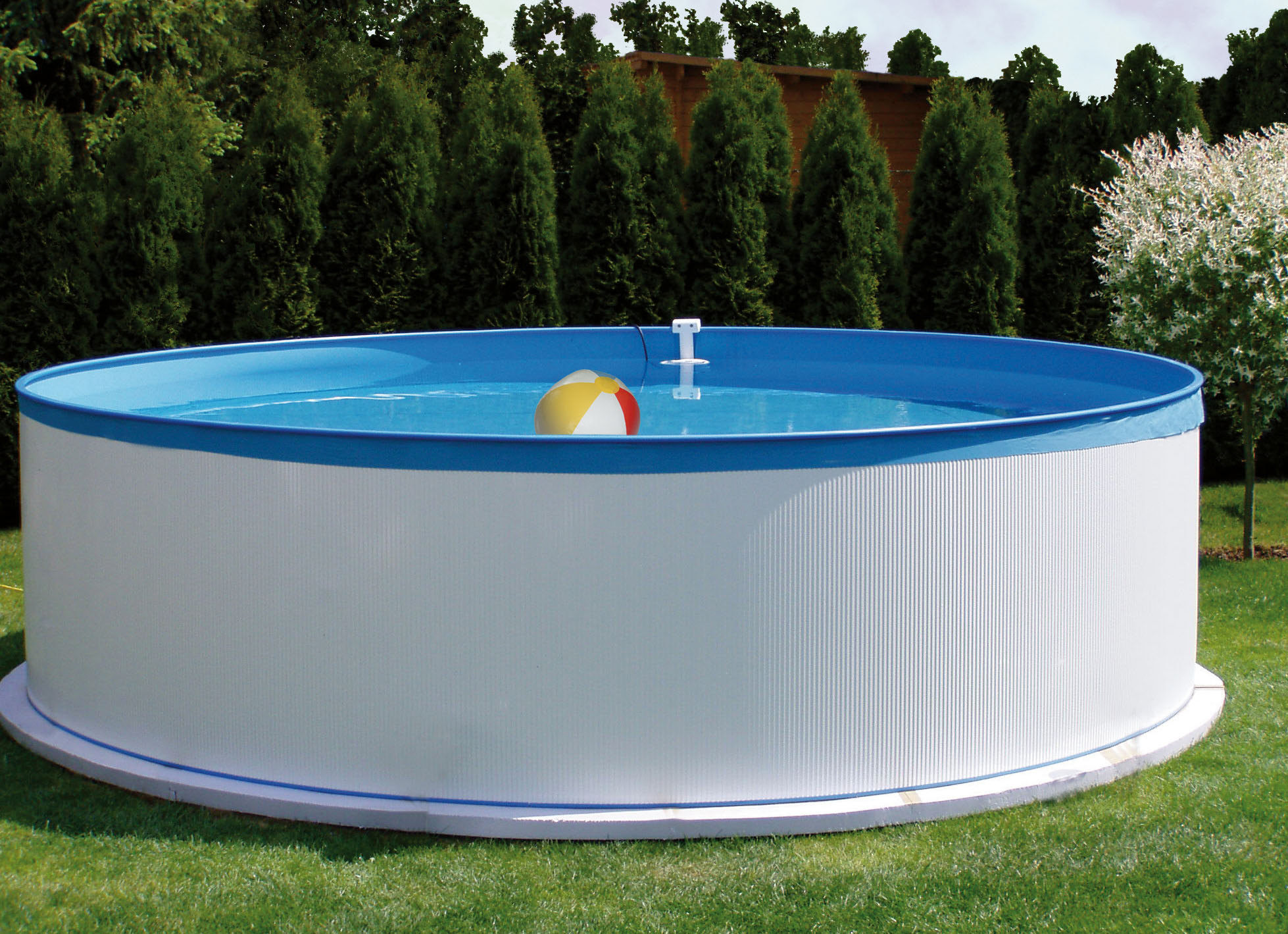 Stahlwandpool set new splasher 350x90cm for Gartenpool 366