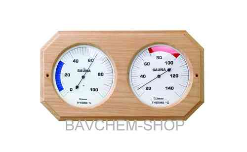 XL Sauna Hýgrothermometer in Holz 160mm/38cm