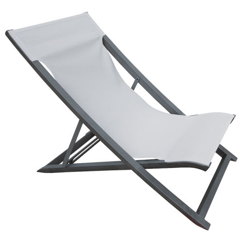 Liegestuhl Deck Chair SUNSET / Anthrazit-Grau